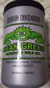 Big Boss Champion Mean Green Incredible Hold Gel  No Alcohol & No Flakes 64 oz