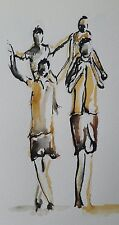 """original watercolour/ink painting   """"Family day out"""""""