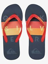 Quiksilver Men Flip Flops Molokai Word Block Casual Sport Summer Everyday Sandal