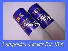 2 ampoules à tester l'or 18 carats 750/ 1000 ieme