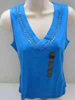 BANANA REPUBLIC Women's Blue Cutout Neckline Tank Top Size S,M NWT