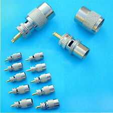 10 x Uhf Pl-259 Male Solder Rf Connector Plug For Rg8 Coaxial Cable