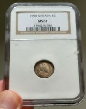 1908 Canada 5 Cents NGC MS-61 Large 8 - Rare Variety - Book Value $1000