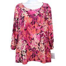 Women's Floral Flower Blouse Long Sleeve Top Croft & Barrow Size M New