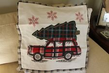 """Nwt Pottery Barn All The Way Embroidered Pillow Cover Woody Christmas Tree 20"""""""