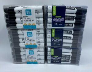 Set Of 6 Pen+Gear Dry Erase Markers Black Chisel Tip 16 Per Pack / Total = 96