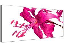 Pink Modern Canvas Art of Floral Lillies  - 120cm x 50cm - 1053