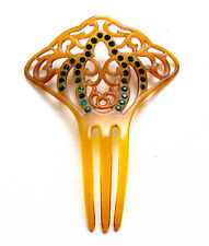 Art Deco hair comb Spanish style green rhinestone hair ornament
