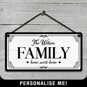 Personalised Hanging Family Sign Metal Plaque Kitchen Vintage Retro Home Gift
