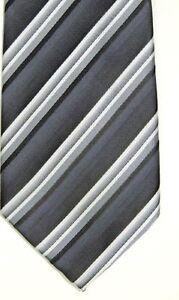 """John Ashford Men's Poly Keywest Striped Black Gray Classic 3 1/2"""" x 58"""""""
