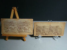 ANTIQUE (2) JOHNSTOWN FLOOD CALAMITY 1889 STEREOVIEW CARDS~WRECK at STONE BRIDGE
