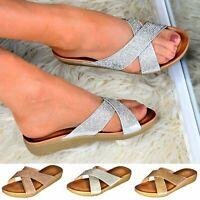 Ladies Flat Diamante Sliders Comfy Wedge Mules Low Heel Sandals Slip On Shoes