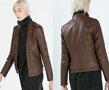 ZARA Brown Faux Leather Short Jacket MEDIUM Casual