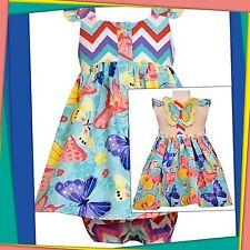 NWT 24 Mos BONNIE JEAN BABY 2pc CHEVRON BUTTERFLY SUN DRESS cotton Diaper Cover