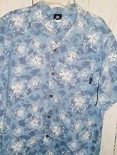 Billabong Mens S/S Shirt Button Up Floral Hawaiian Aloha Hibiscus Blue Size XL