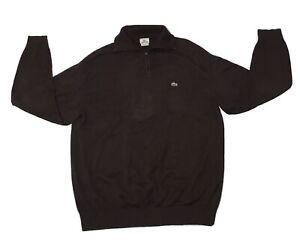 Lacoste Pullover Men's Size 8 / 2XL XXL Brown Quarter Zip Sweater