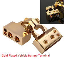 2Pcs Positive/Nagative Car Gold Battery Terminal Clamp Copper alloy Connector