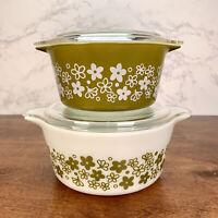 Set Of 2 Vintage Pyrex Spring Blossom Green Crazy Daisy casseroles 474-B- 473
