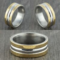 8mm Stainless Steel Silver & Gold Wedding Band - Mens Womens Ring - Sizes M to Y