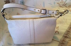Coach Vintage White Pebbled Leather Handbag Purse Pouch