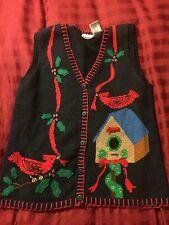Ugly Christmas Sweater Vest Holiday Birds Cardinal Large Bird House Holly
