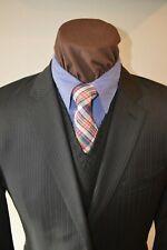 Calvin Klein mens 2btn black double beaded striped suit z e52R US 40R pant 36x31