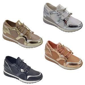 Footwear Sale Women's Lace Up Trainers Glitter Walking Sports Ladies Shoes SIZe