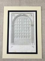 1857 Antik Aufdruck Italienische Architektur Gothic Eiche Palast Türen