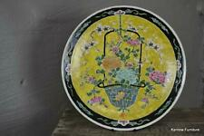 More details for japanese oriental black & yellow charger decorative plate