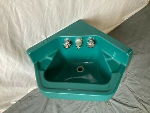 "Vintage 24"" Dark Green Porcelain Wall Mount Corner Bath Sink Standard 56-21E"