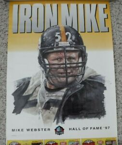 RARE VINTAGE PITTSBURGH STEELERS MIKE WEBSTER HALL OF FAME POSTER THREE RIVERS