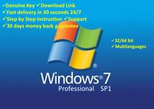 Windows 7 Pro Professional 32+64Bit✔️Original genuine License🔑Key OEM⚡Shipp 28s
