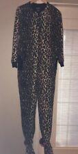 NICK & NORA One piece Leopard Fleece footed Pajama 1 piece Sleeper•Womens SMALL