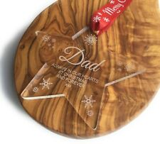 """Acrylic Personalised Christmas Tree Decoration Bauble """" To Remember Dad at Xmas"""