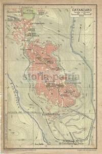CALABRIA_CATANZARO_ANTICA MAPPA GEOGRAFICA_TOPOGRAFIA_STRADARIO_FONDACHELLO_1928