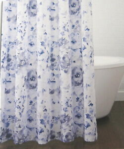 Croscill Lyla Floral Shower Curtain Cotton 72 x 72 In. Blue