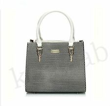 Serenade Cosmo Textured Leather Handbag in Black & White Textured Finish