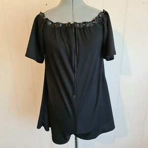 NWT Boohoo Women's Size AUS 14 Off The Shoulder Tie Neck Swing Playsuit Black