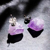 Hot Raw Amethyst Chunk Earrings Geo Earrings Natural Crystal Quartz Earrings