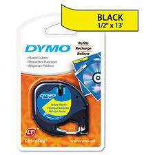 Dymo 91332 LetraTag Labelmaker Plastic Tape Black on Yellow LT Labels