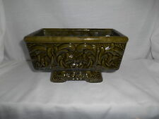 Mid Century Modern Large Footed Green Gloss Planter with Ornate Embossed Motif