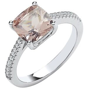 Sterling Silver Morganite Ladies Solitaire Ring - All Sizes