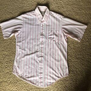Vintage 1970s Mens Button Up Dress Casual Shirt Towncraft Penn Prest JC Penney