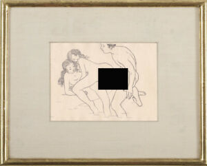 Modern Mario Tauzin Sketch Nude Portrait Reflection Drawing Erotic Threesome