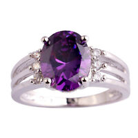 Exquisite Purple Amethyst White Gemstone Jewelry AAA Silver Ring Size 6 7 8 9 10