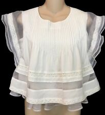 JOA Top White Organza Embroidered Baby Doll Sheer Trim Size Extra Small