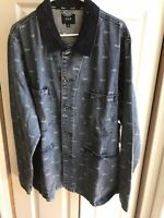 NWT Huf Domestic Denim Long Jacket Blue Medium Wash supreme pattern Sz XL