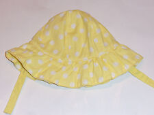 NEW! BABY GIRLS GYMBOREE YELLOW W/ WHITE POLKA DOTS BUCKET HAT   SIZE 0-3M
