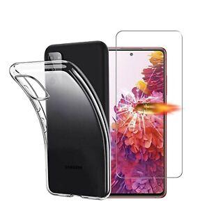 Coque Transparent  + Film Vitre Verre Trempé Pour Samsung Galaxy  S20 FE