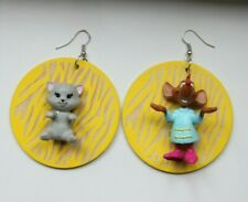 Cat and Mouse Grunge Toy Pastel Goth Upcycled Earrings Made From Old Toys